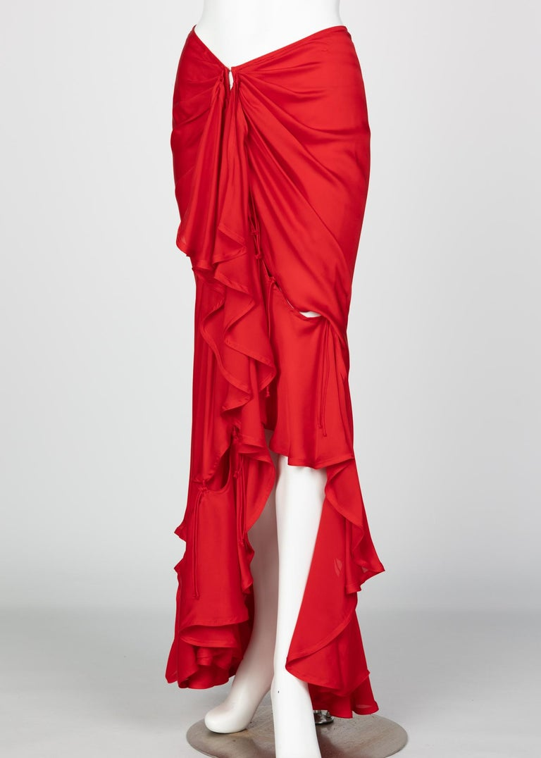 Yves Saint Laurent Red Silk Flamenco Skirt YSL, Runway 2003 For Sale 7