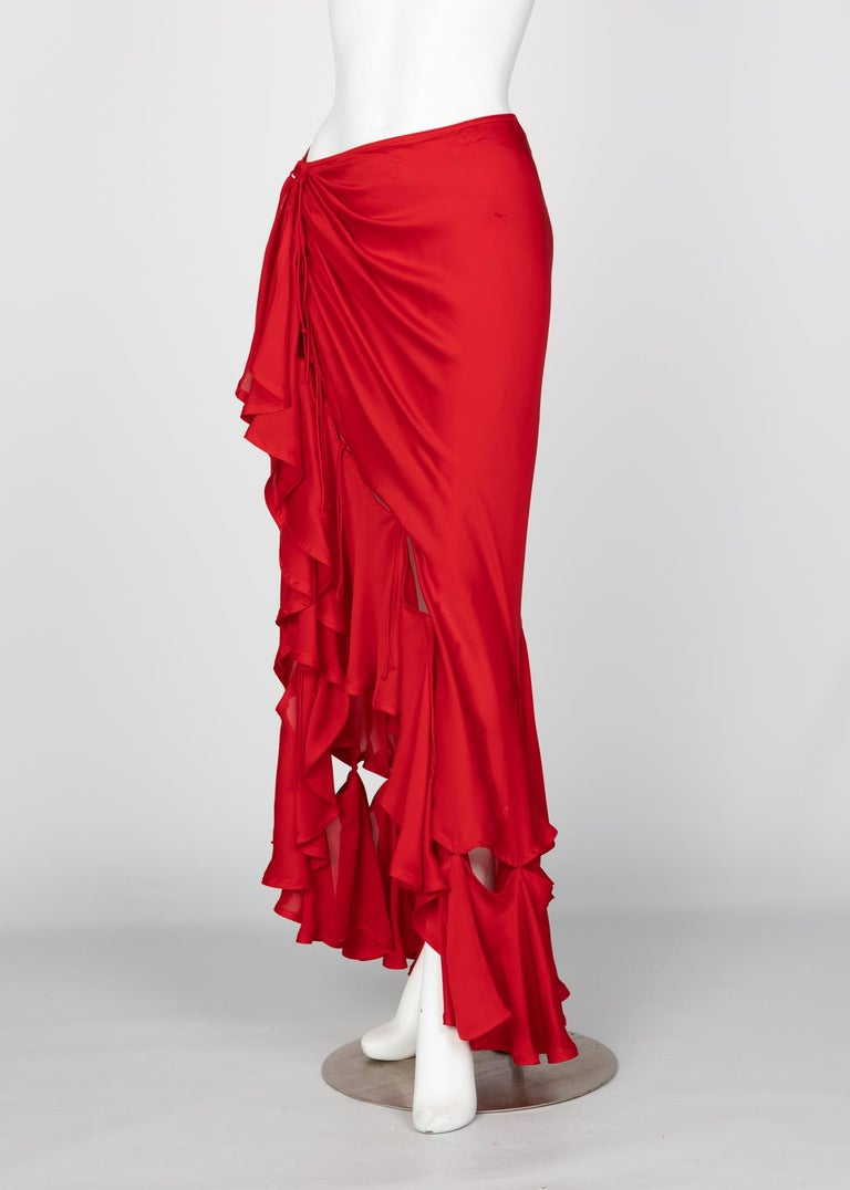 Women's Yves Saint Laurent Red Silk Flamenco Skirt YSL, Runway 2003 For Sale