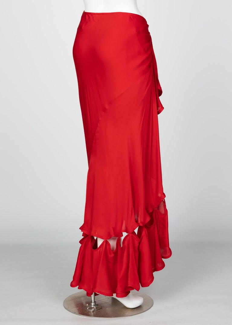 Yves Saint Laurent Red Silk Flamenco Skirt YSL, Runway 2003 For Sale 1