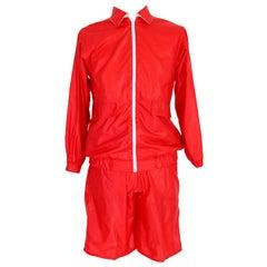 Yves Saint Laurent Red Swimsuit Jacket Short 1970s