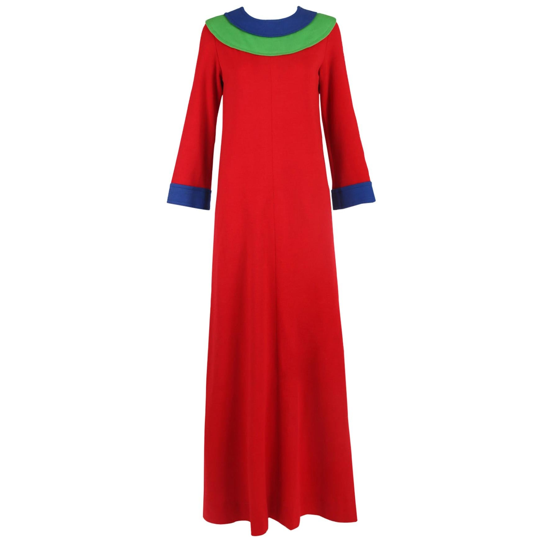 Yves Saint Laurent Red Wool Maxi Dress w/Blue & Green Colorblock Trim