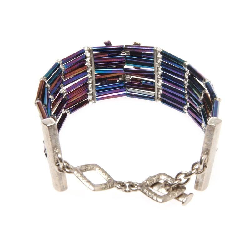 86478553044 VINTAGE YVES SAINT LAURENT LOGO RHINESTONE BEAD BRACELET An Unusual-rare  rhinestone bead bracelet by