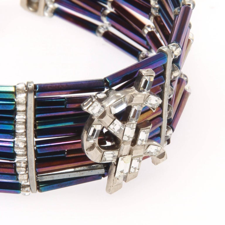 c870b2cee9c Yves Saint Laurent Rhinestone purple and blue cuff bracelet In Good  Condition For Sale In Melbourne