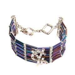 Yves Saint Laurent Rhinestone purple and blue cuff bracelet