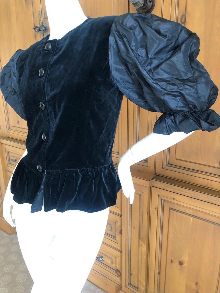 dbbfe8519f6 Yves Saint Laurent Rive Gauche 1970's Black Velvet Top w Taffeta Balloon  Sleeves For Sale 2