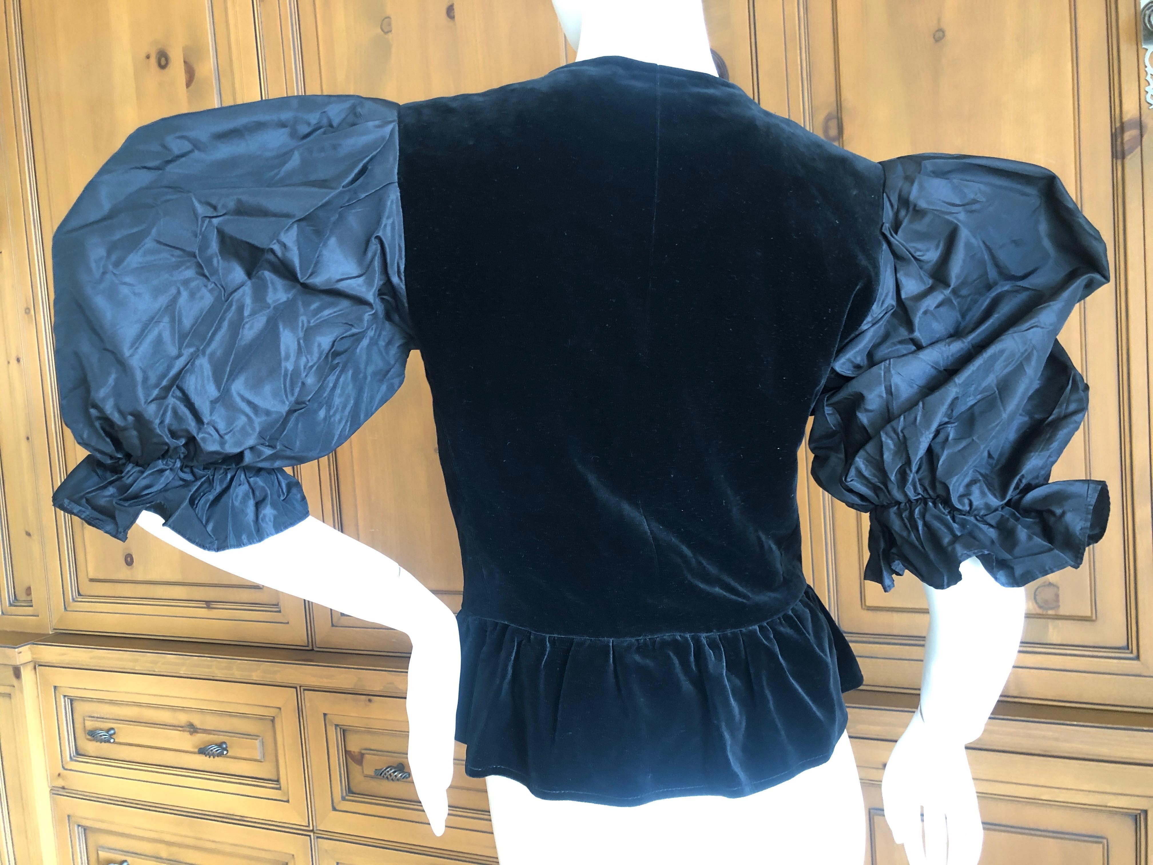 3a83e67db8a Yves Saint Laurent Rive Gauche 1970's Black Velvet Top w Taffeta Balloon  Sleeves For Sale at 1stdibs