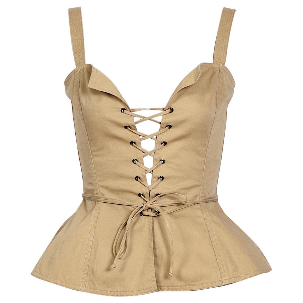 """Yves Saint Laurent """"rive gauche"""" 1970s cotton bustier top"""
