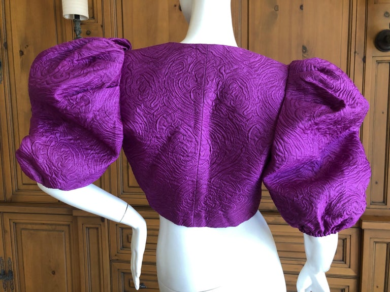 Yves Saint Laurent Rive Gauche 1970's Cropped Purple Brocade Puff Sleeve Jacket For Sale 1