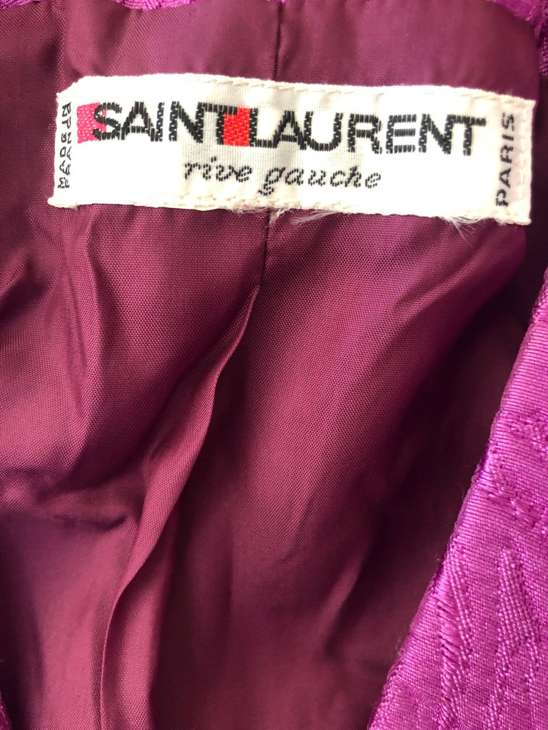 Yves Saint Laurent Rive Gauche 1970's Cropped Purple Brocade Puff Sleeve Jacket For Sale 3