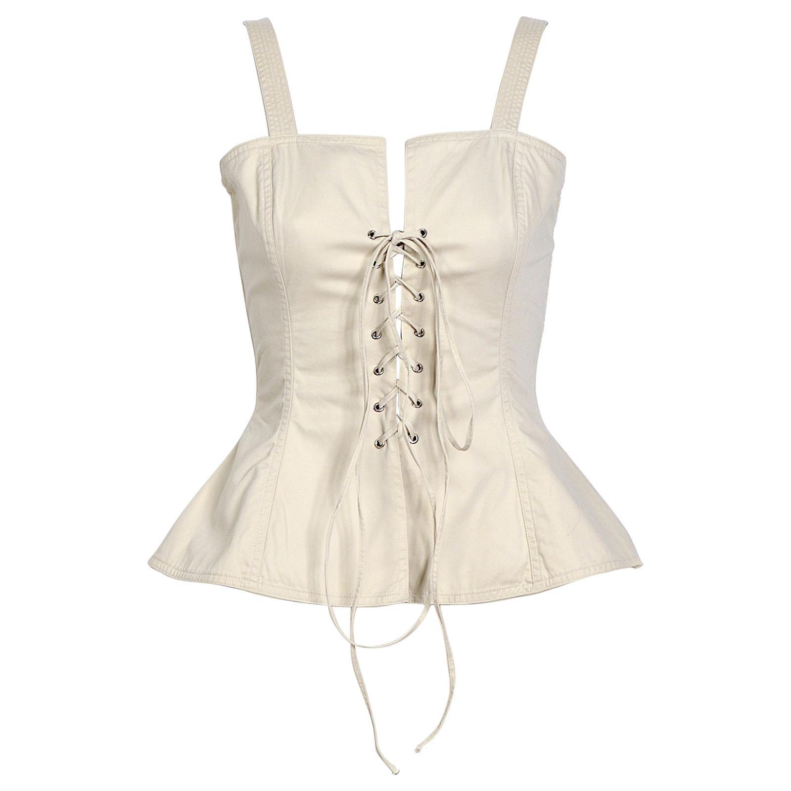 """Yves Saint Laurent """"rive gauche"""" 1970s lace up cotton bustier top"""