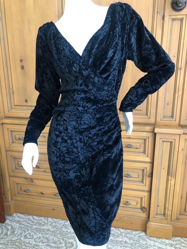 Yves Saint Laurent Rive Gauche 1970's Low Cut Black Velvet Cocktail Dress In Excellent Condition For Sale In San Francisco, CA