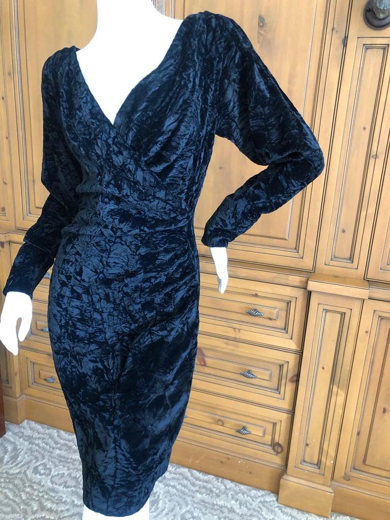Women's Yves Saint Laurent Rive Gauche 1970's Low Cut Black Velvet Cocktail Dress For Sale