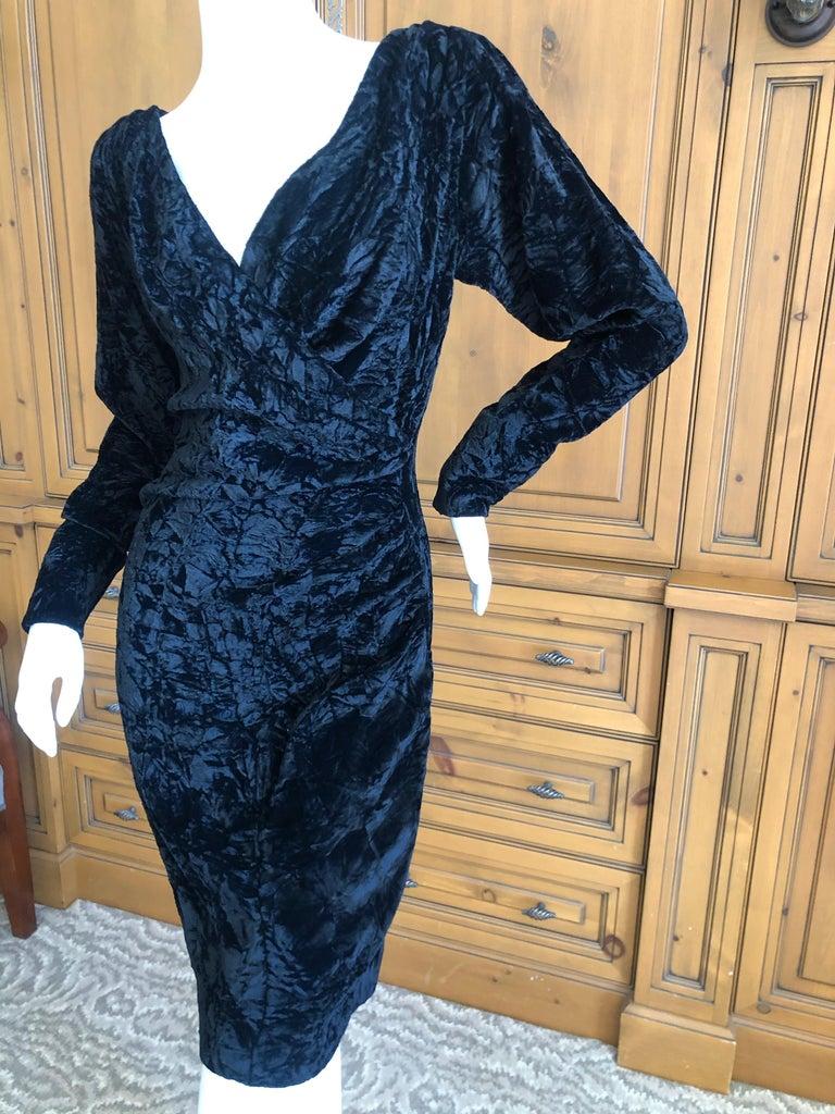 Yves Saint Laurent Rive Gauche 1970's Low Cut Black Velvet Cocktail Dress For Sale 1