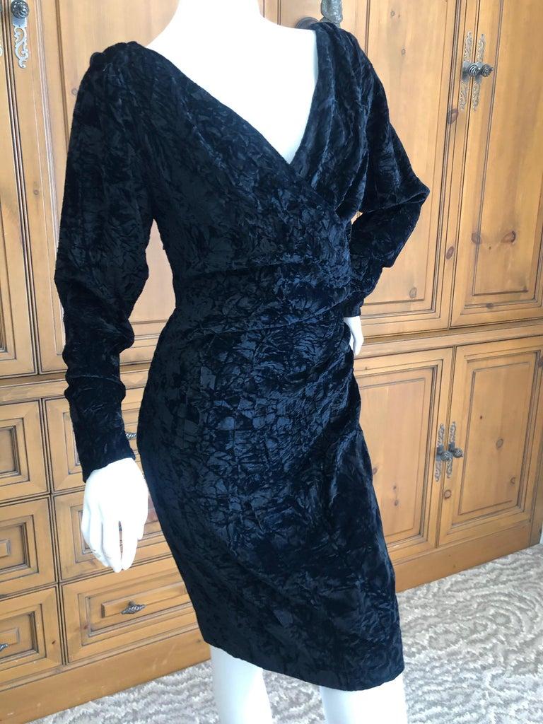 Yves Saint Laurent Rive Gauche 1970's Low Cut Black Velvet Cocktail Dress For Sale 2