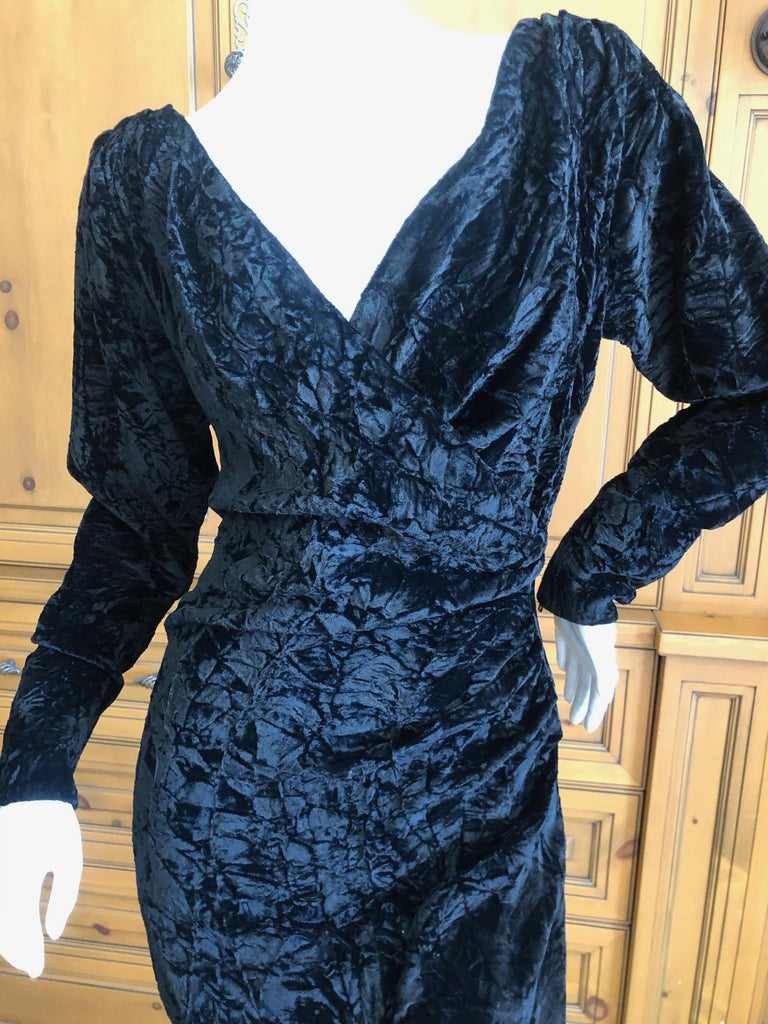 Yves Saint Laurent Rive Gauche 1970's Low Cut Black Velvet Cocktail Dress For Sale 3