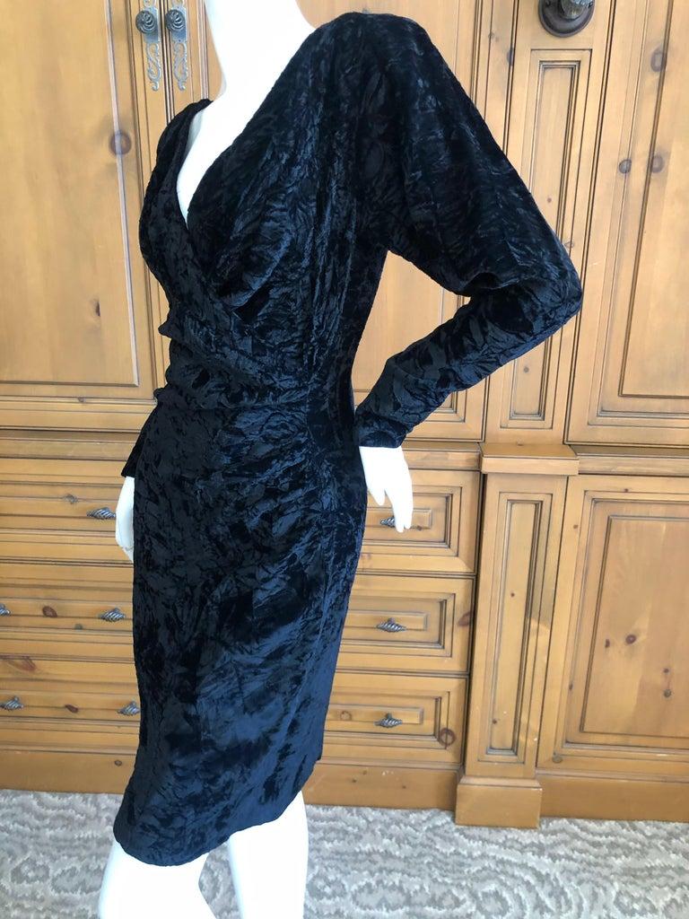 Yves Saint Laurent Rive Gauche 1970's Low Cut Black Velvet Cocktail Dress For Sale 4