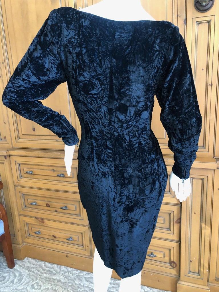 Yves Saint Laurent Rive Gauche 1970's Low Cut Black Velvet Cocktail Dress For Sale 5
