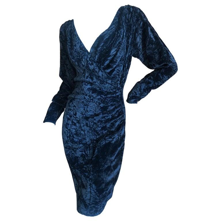 Yves Saint Laurent Rive Gauche 1970's Low Cut Black Velvet Cocktail Dress For Sale