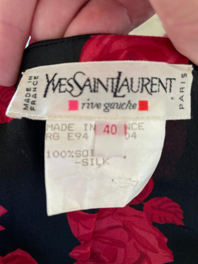 Yves Saint Laurent Rive Gauche 1970's Low Cut Floral Top 1