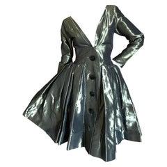 Yves Saint Laurent Rive Gauche 1970's Low Cut Metallic Taffeta Pleated Dress