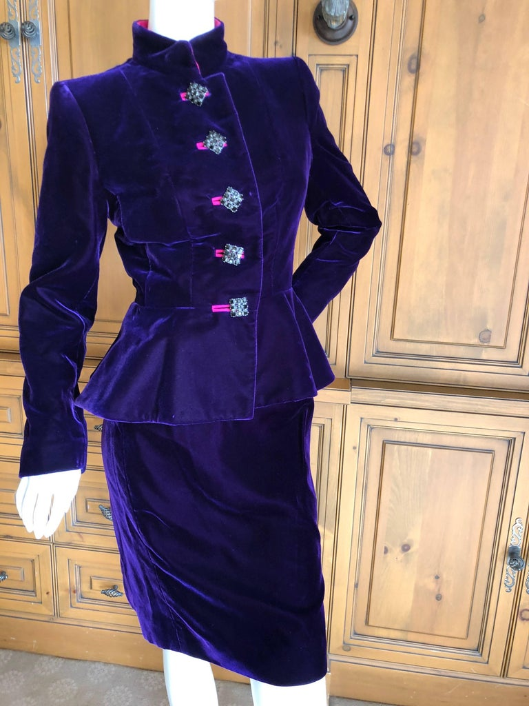 39be212803c Yves Saint Laurent Rive Gauche 1970's Purple Velvet Suit w Hot Pink Moire  Trim Size 36