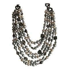 Yves Saint Laurent Rive Gauche 1970's Vintage Multi Strand Gray Pearl Necklace