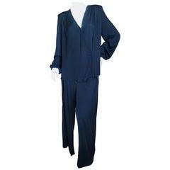 Yves Saint Laurent Rive Gauche 1980's Black Silk Evening Pajama Suit