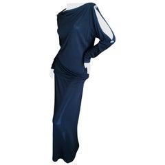 Yves Saint Laurent Rive Gauche 1980's Black Skirt Suit w Jeweled Cold Shoulders