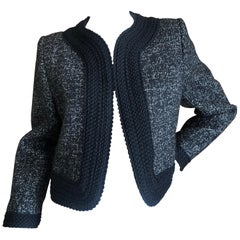Yves Saint Laurent Rive Gauche 1980's Gray Cropped Jacket with Black Trim
