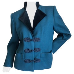 Yves Saint Laurent Rive Gauche 1980's Green and Black Jacket with Frog Closures