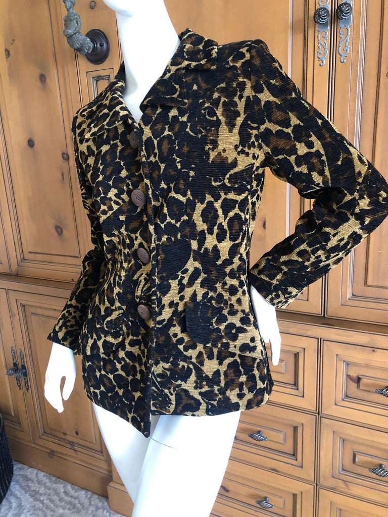 Yves Saint Laurent 1980's Leopard Pattern Corduroy Jacket with Wood Buttons  Size 38  Bust 36