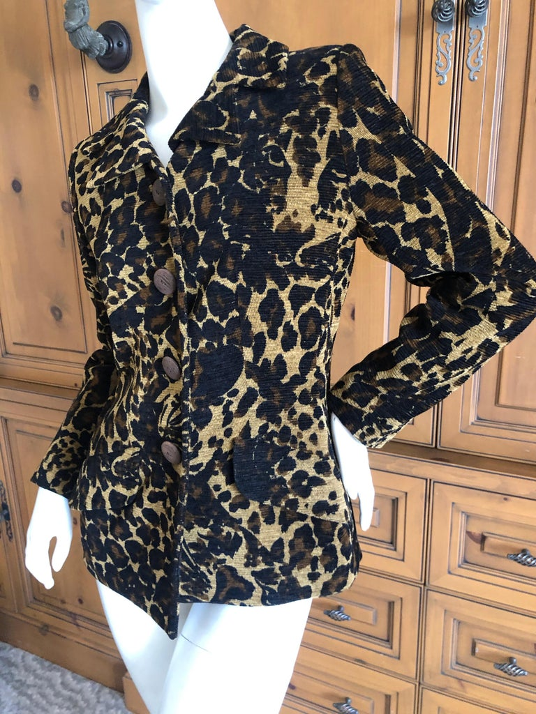 Yves Saint Laurent Rive Gauche 1980's Leopard Pattern Jacket with Wood Buttons  In Excellent Condition For Sale In San Francisco, CA