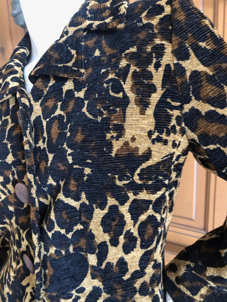 Women's Yves Saint Laurent Rive Gauche 1980's Leopard Pattern Jacket with Wood Buttons  For Sale