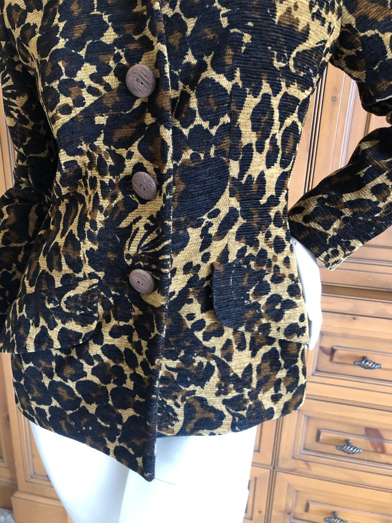 Yves Saint Laurent Rive Gauche 1980's Leopard Pattern Jacket with Wood Buttons  For Sale 1