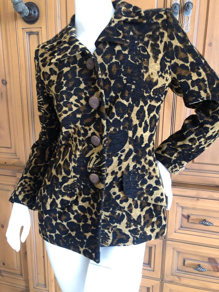 Yves Saint Laurent Rive Gauche 1980's Leopard Pattern Jacket with Wood Buttons  For Sale 2