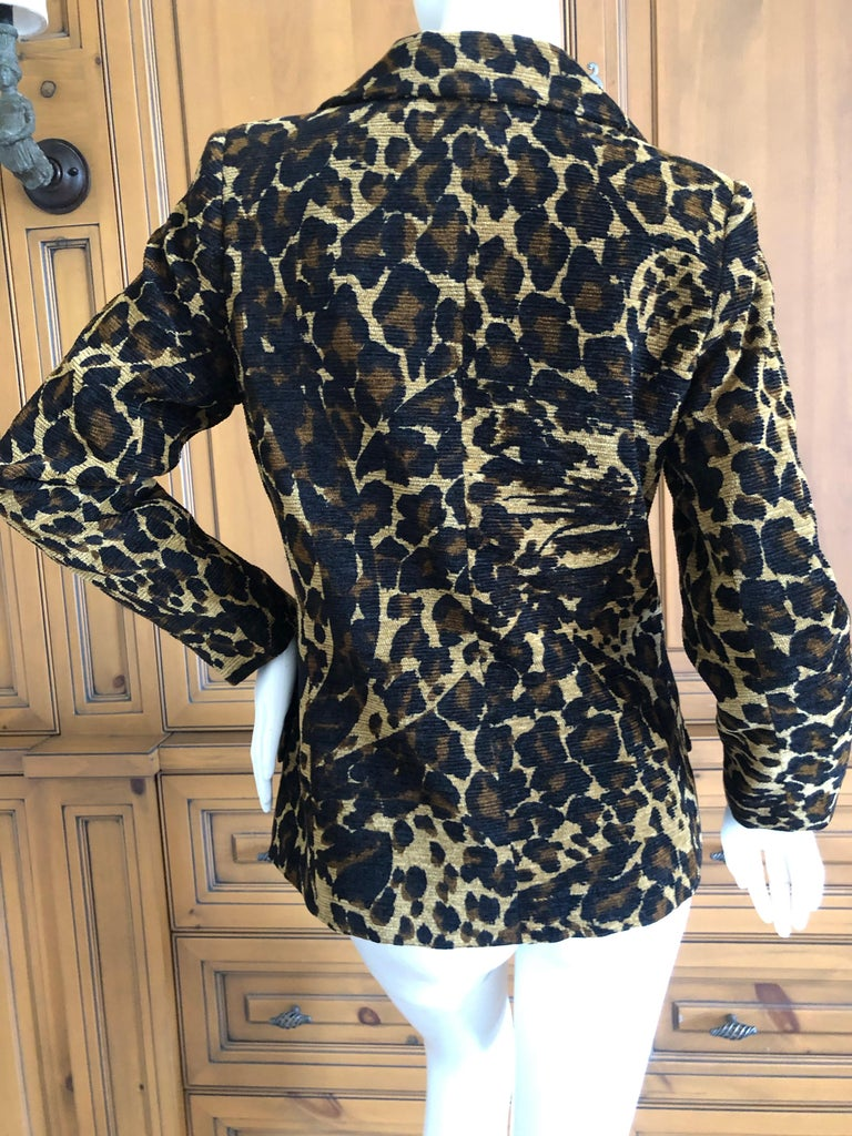 Yves Saint Laurent Rive Gauche 1980's Leopard Pattern Jacket with Wood Buttons  For Sale 4