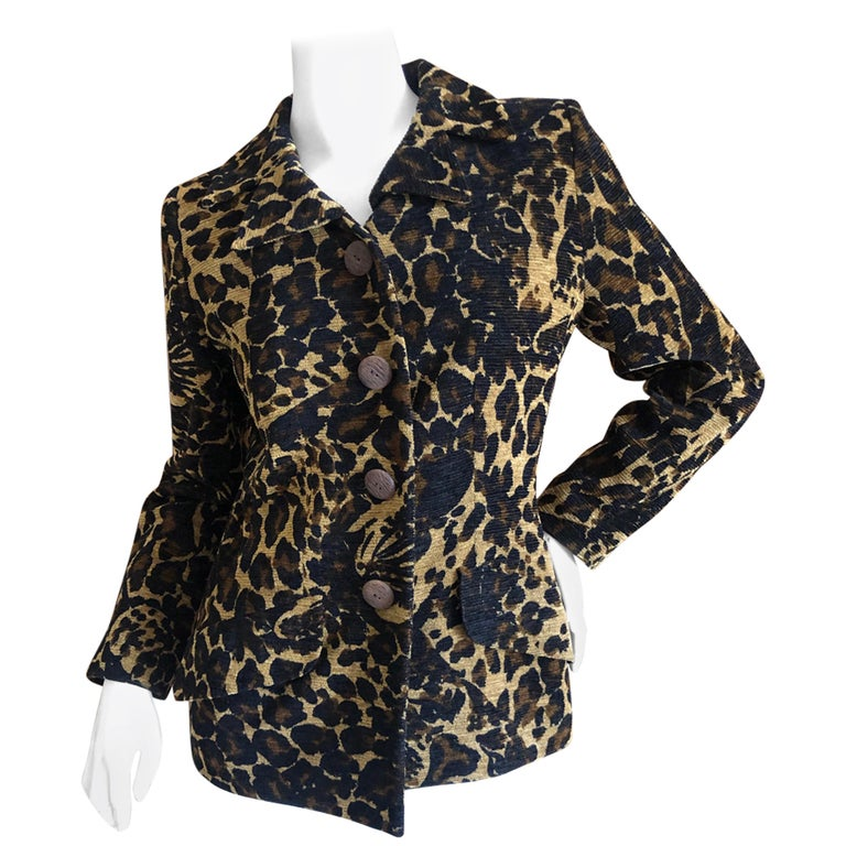 Yves Saint Laurent Rive Gauche 1980's Leopard Pattern Jacket with Wood Buttons  For Sale