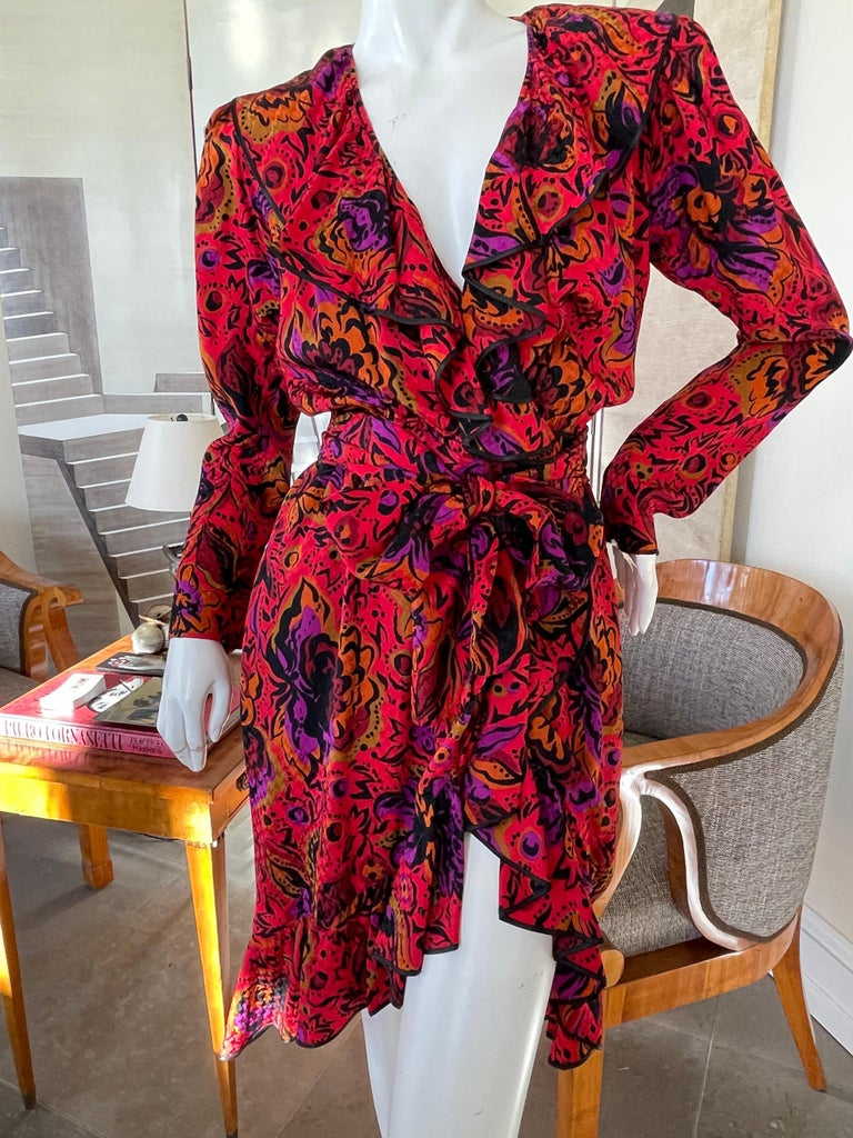 Yves Saint Laurent Rive Gauche 70's Vivid Ruffle Silk Floral Wrap Dress with Sash Tie Belt This is so pretty,much prettier than the photos Size 34  Bust 36