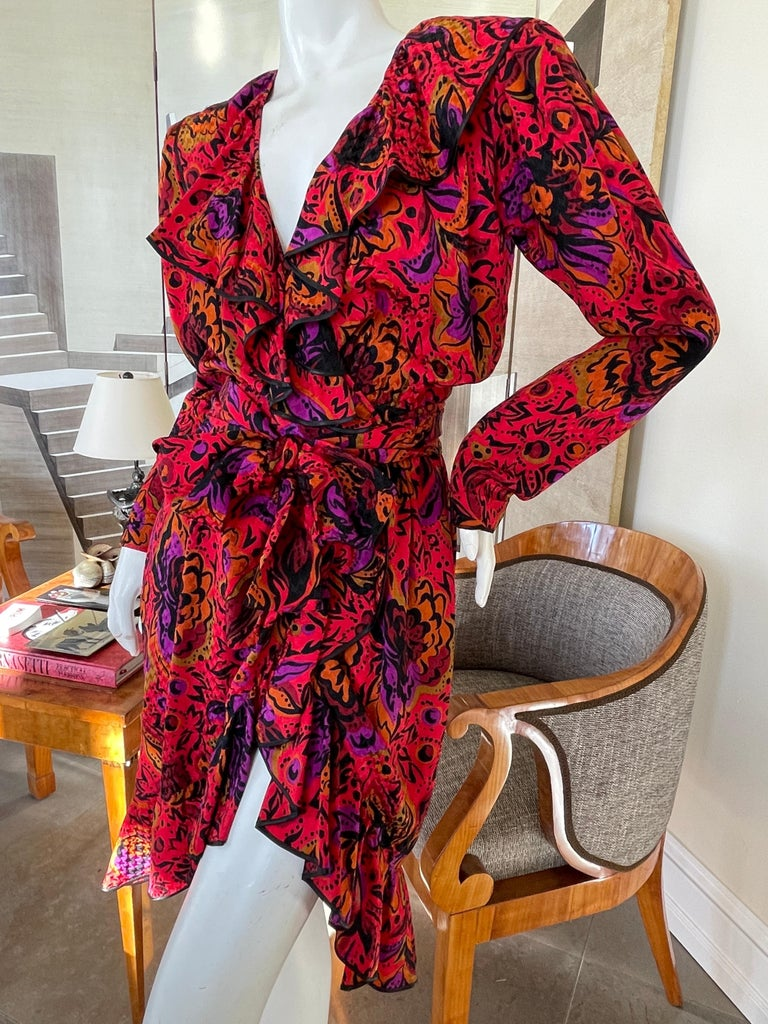 Red Yves Saint Laurent Rive Gauche 70's Ruffle Silk Floral Wrap Dress with Sash Belt For Sale