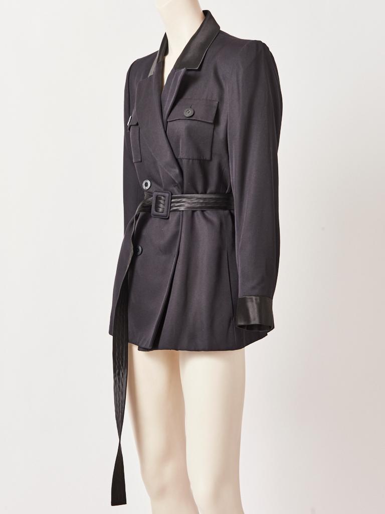 Black Yves Saint Laurent Rive Gauche Belted Safari Jacket For Sale