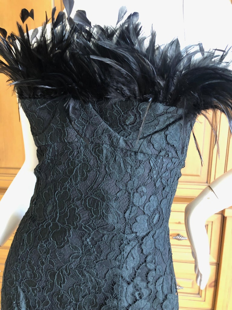 Yves Saint Laurent Vintage Feathered Strapless Black Lace Corset Cocktail Dress  Size 36, this is tiny. Full inner corset  Bust 32