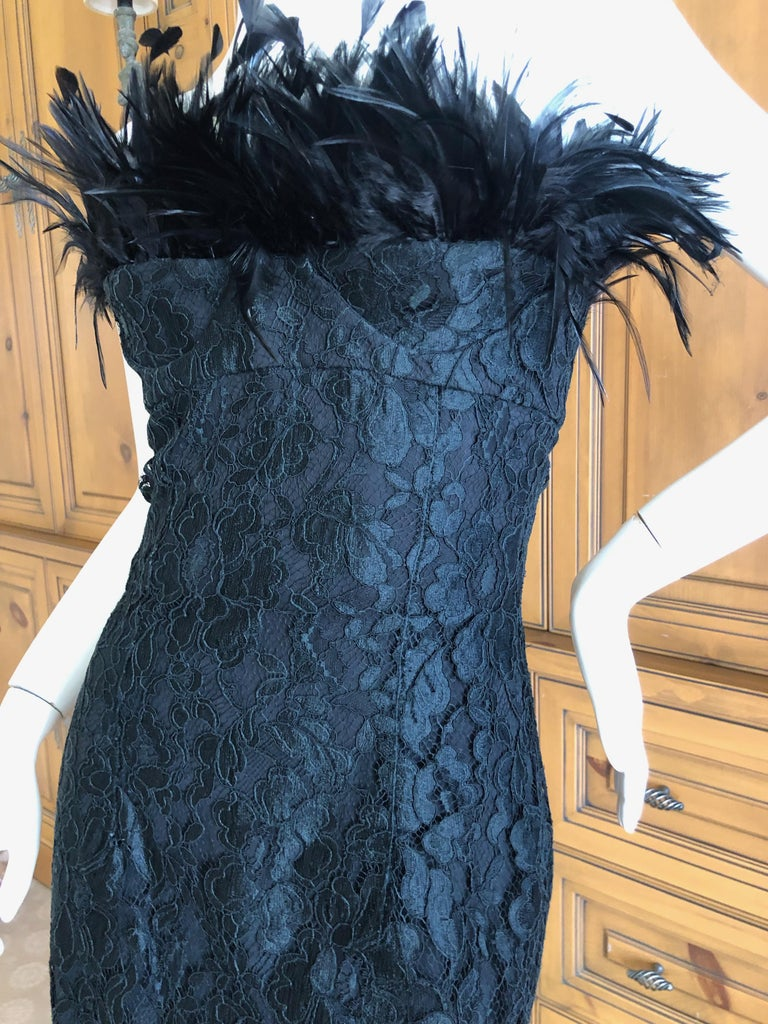 Women's Yves Saint Laurent Rive Gauche Black Lace Strapless Mini Dress with Feather Bust For Sale