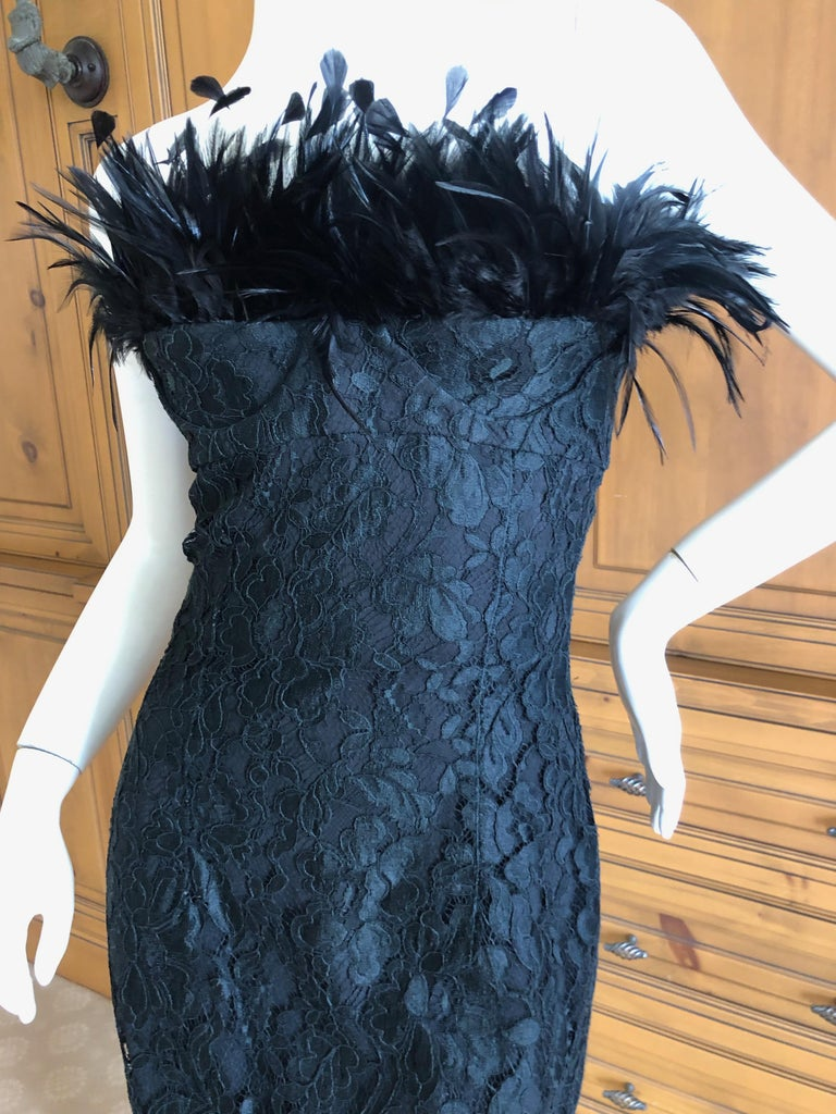 Yves Saint Laurent Rive Gauche Black Lace Strapless Mini Dress with Feather Bust For Sale 1