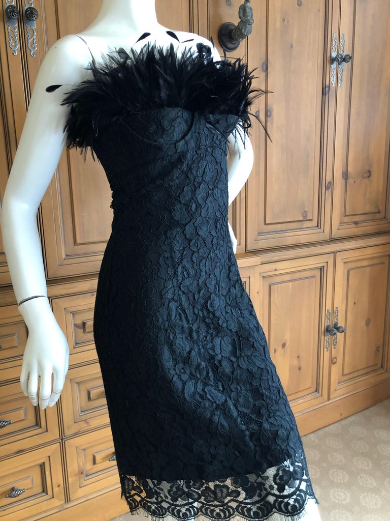 Yves Saint Laurent Rive Gauche Black Lace Strapless Mini Dress with Feather Bust For Sale 2