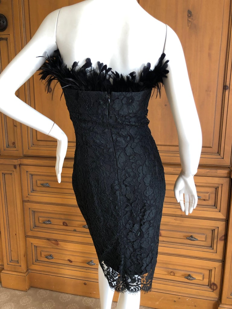 Yves Saint Laurent Rive Gauche Black Lace Strapless Mini Dress with Feather Bust For Sale 3