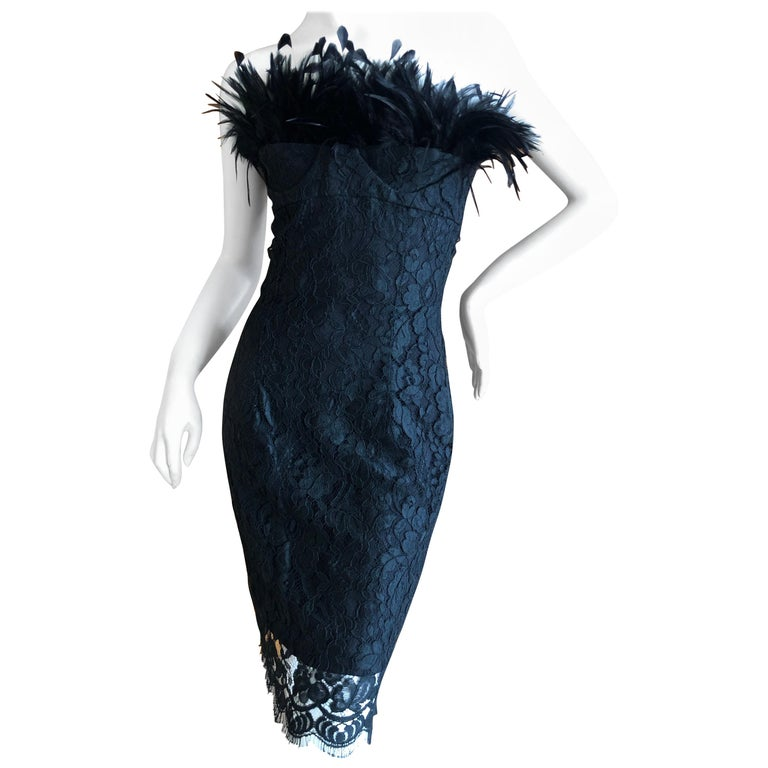 Yves Saint Laurent Rive Gauche Black Lace Strapless Mini Dress with Feather Bust For Sale