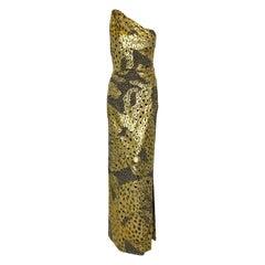 Yves Saint Laurent Rive Gauche Black & Metallic Gold One Shoulder Evening Dress