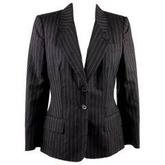 Yves Saint Laurent Rive Gauche Black Pinstriped Blazer Jacket Size 38