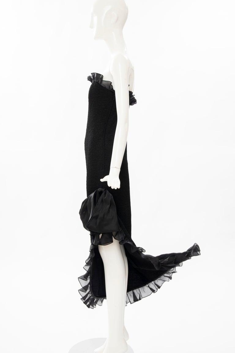 Yves Saint Laurent Rive Gauche Black Silk Strapless Evening Dress, Circa: 1980's For Sale 6
