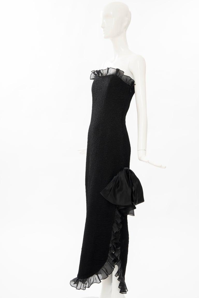 Yves Saint Laurent Rive Gauche Black Silk Strapless Evening Dress, Circa: 1980's For Sale 7